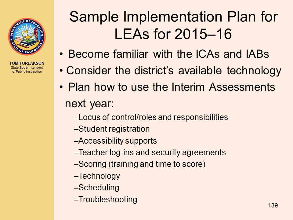 Sample Implementation Plan for LEAs for 2015–16