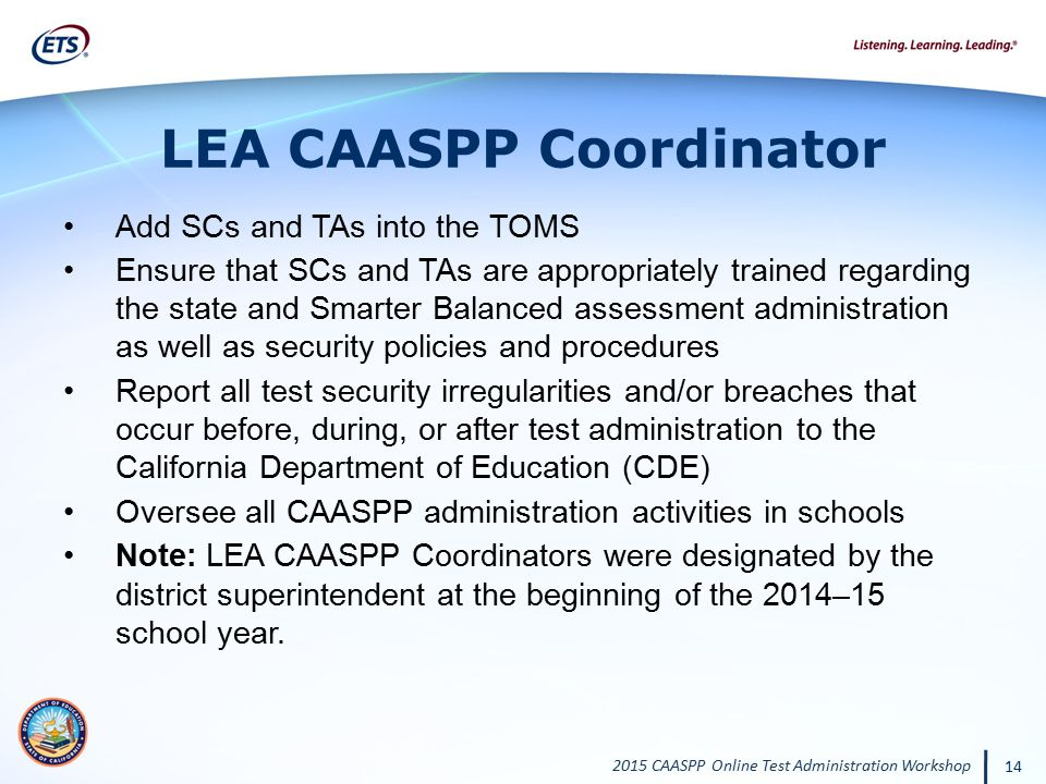 LEA CAASPP Coordinator