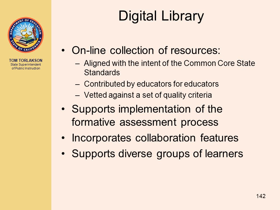 Digital Library On-line collection of resources: