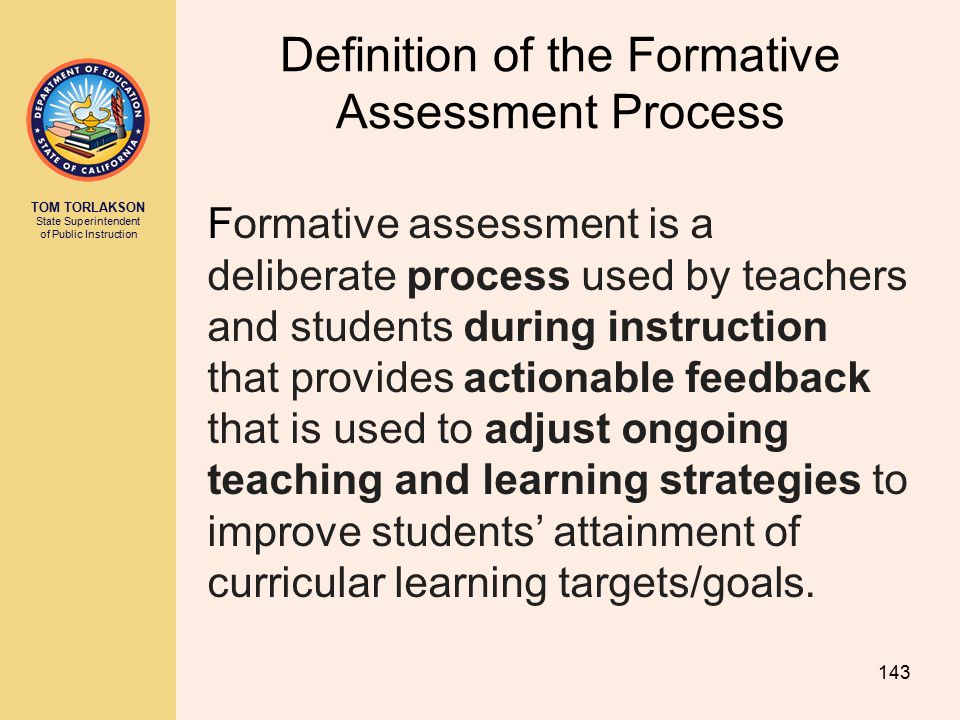 Definition of the Formative Assessment Process