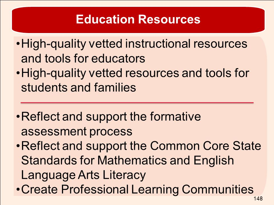Education Resources High-quality vetted instructional resources and tools for educators.