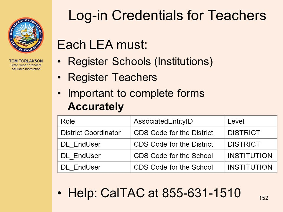 Log-in Credentials for Teachers