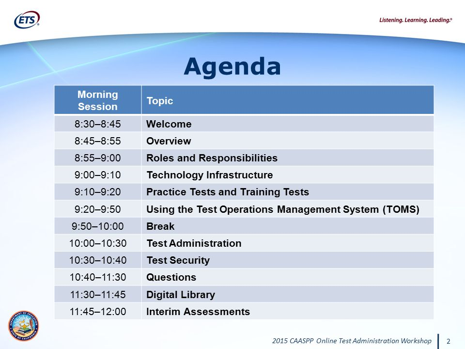 Agenda Morning Session Topic 8:30–8:45 Welcome 8:45–8:55 Overview