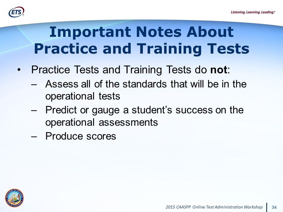 Important Notes About Practice and Training Tests