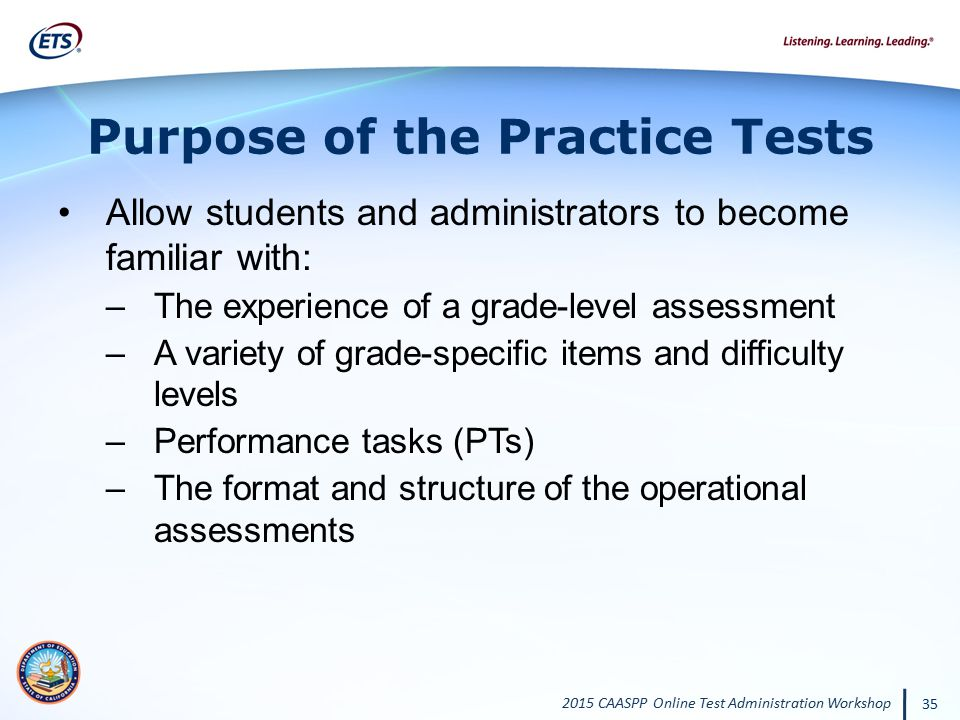Purpose of the Practice Tests