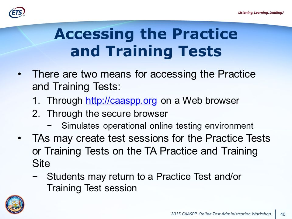 Accessing the Practice and Training Tests