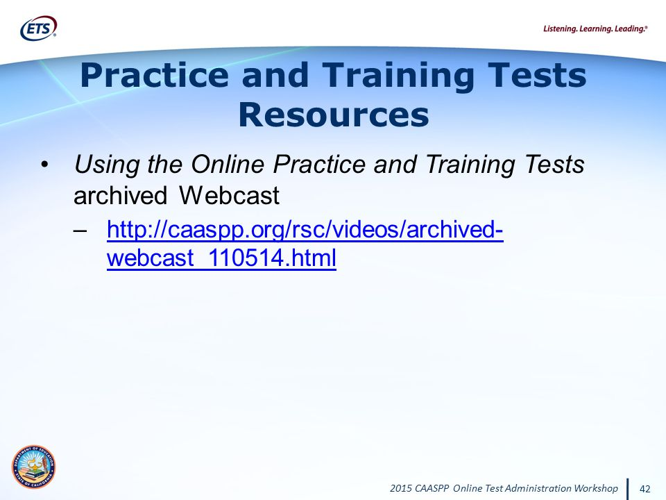 Practice and Training Tests Resources