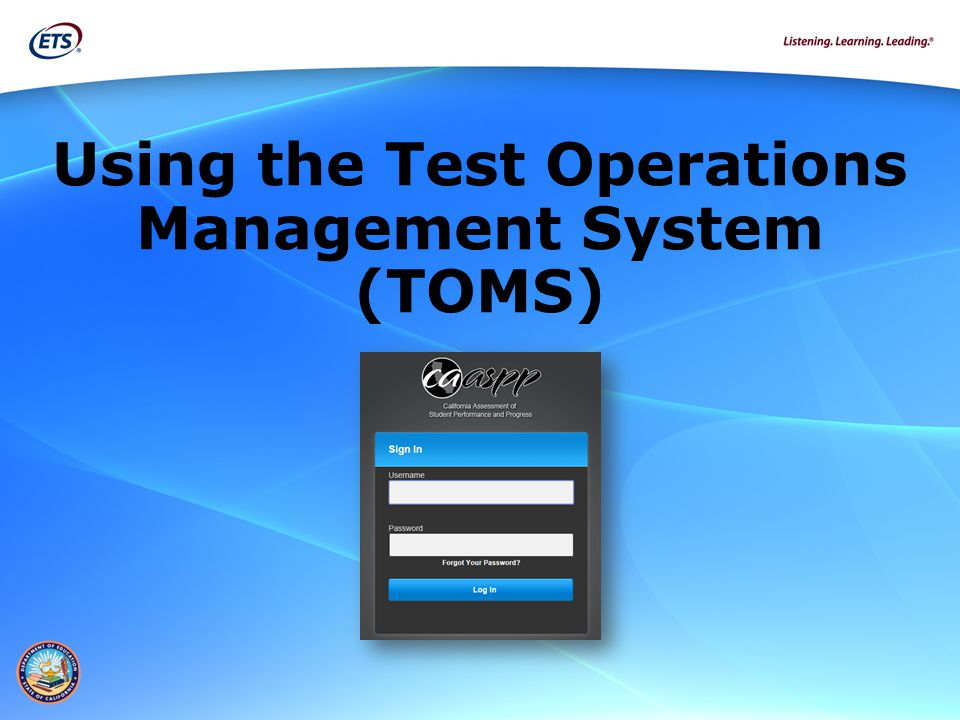 Using the Test Operations Management System (TOMS)