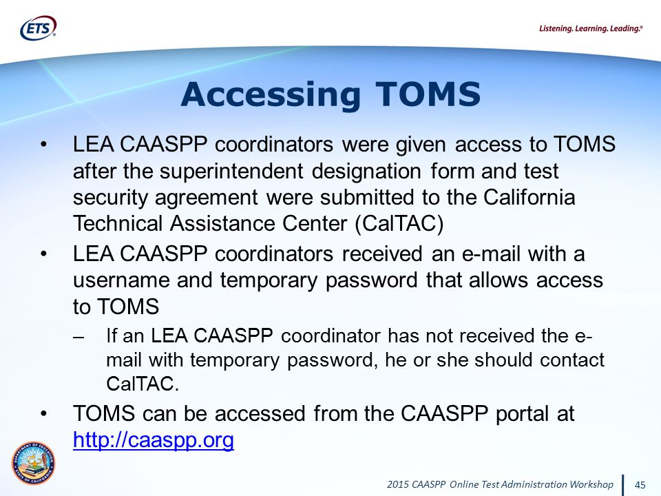 Accessing TOMS