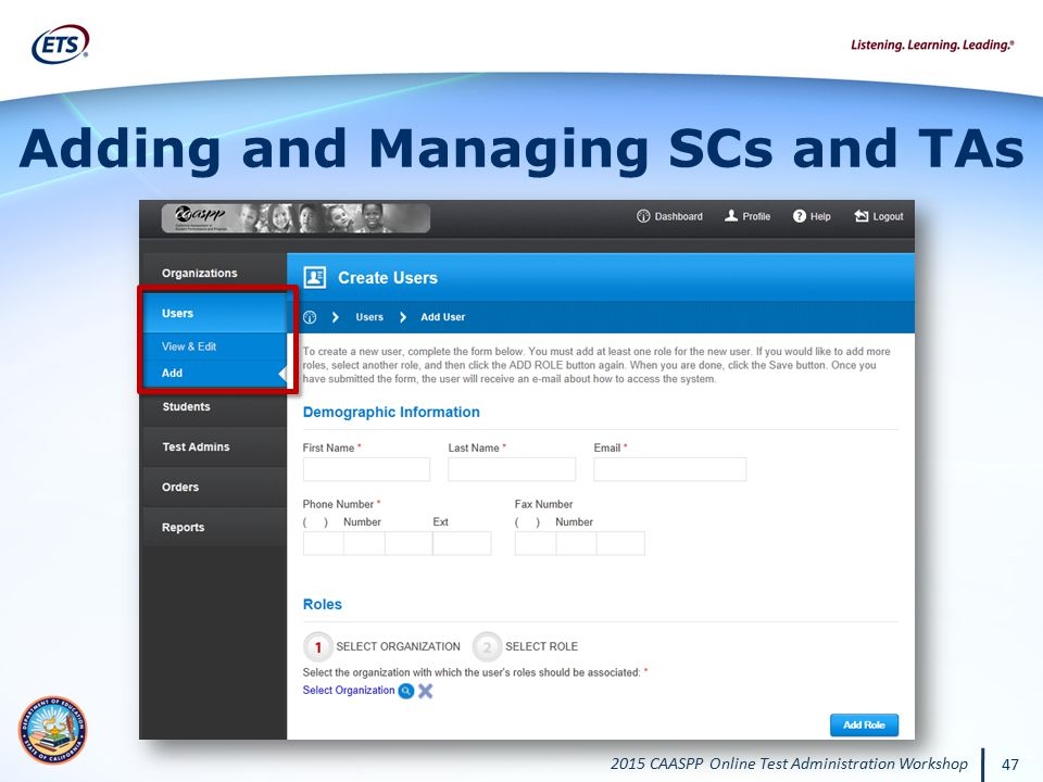 Adding and Managing SCs and TAs