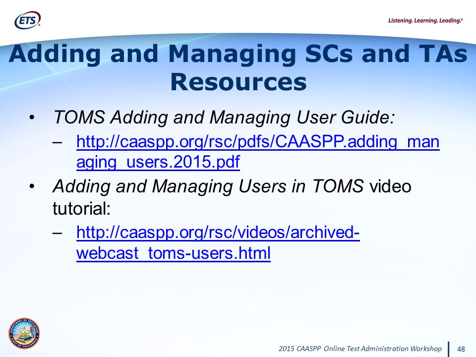 Adding and Managing SCs and TAs Resources