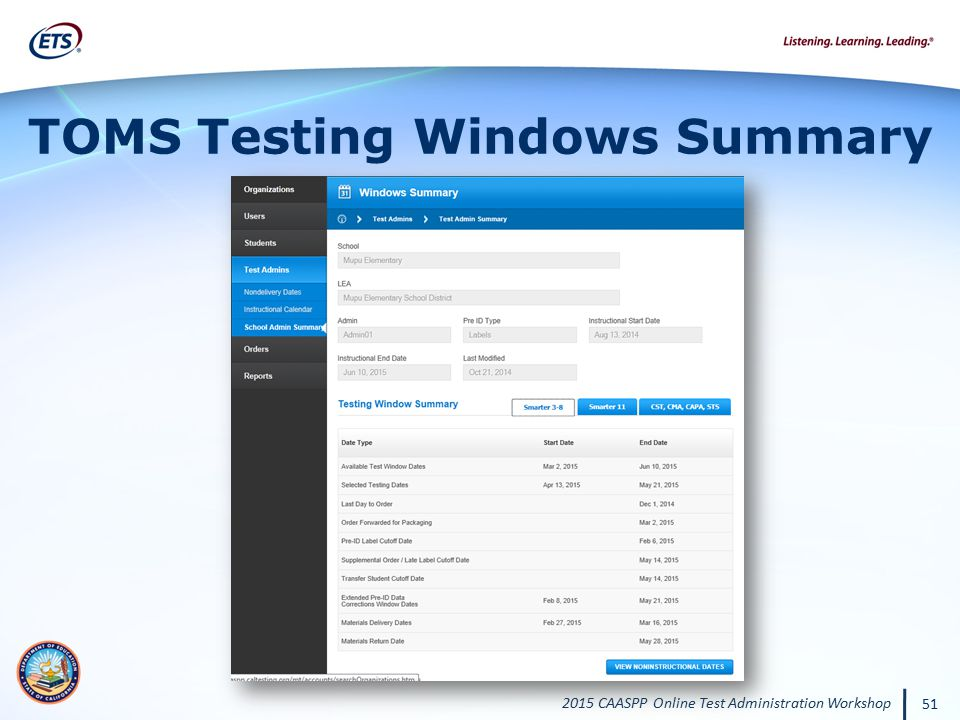 TOMS Testing Windows Summary