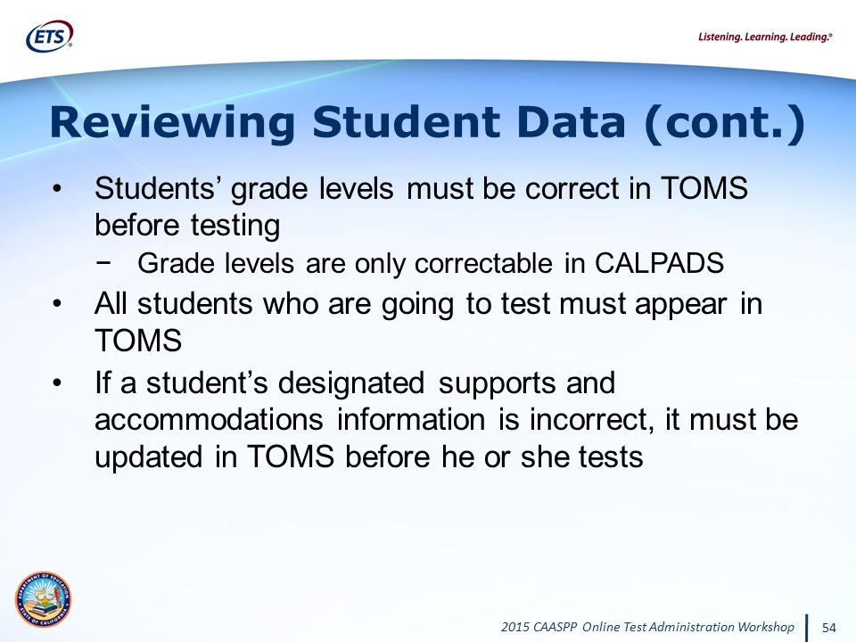 Reviewing Student Data (cont.)