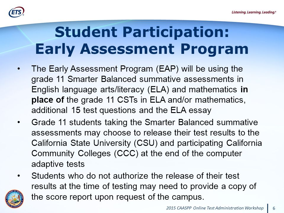 Student Participation: Early Assessment Program