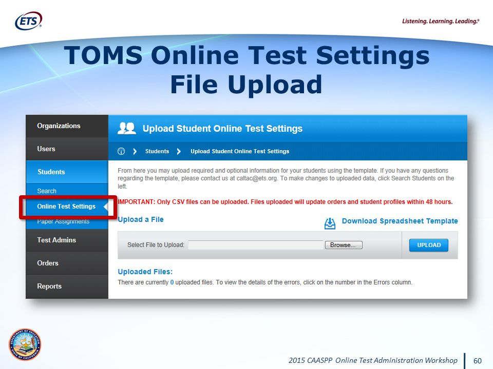 TOMS Online Test Settings File Upload