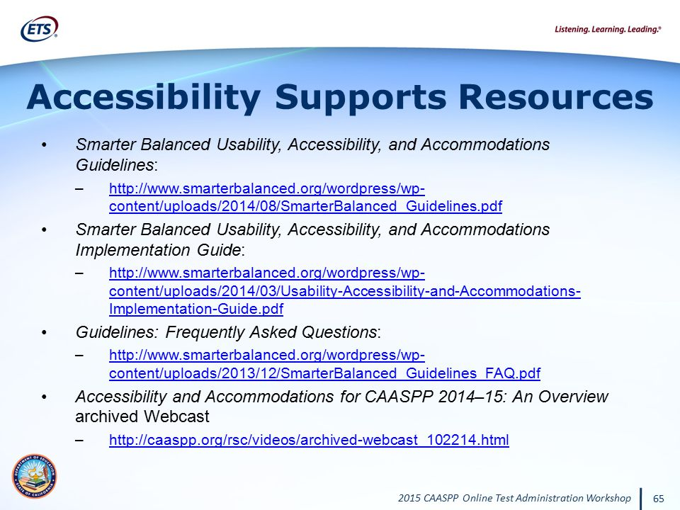 Accessibility Supports Resources