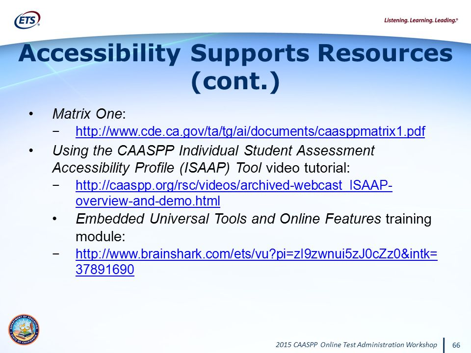 Accessibility Supports Resources (cont.)