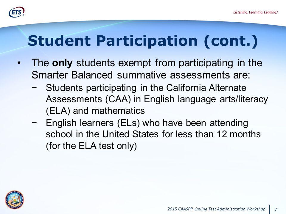 Student Participation (cont.)