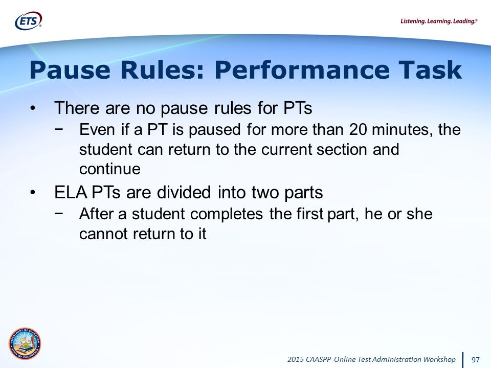Pause Rules: Performance Task