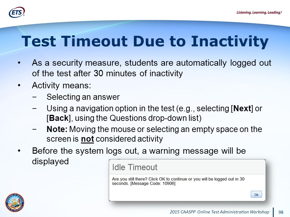 Test Timeout Due to Inactivity
