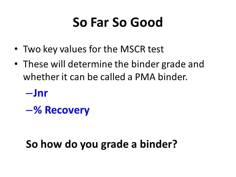 So Far So Good Jnr % Recovery So how do you grade a binder