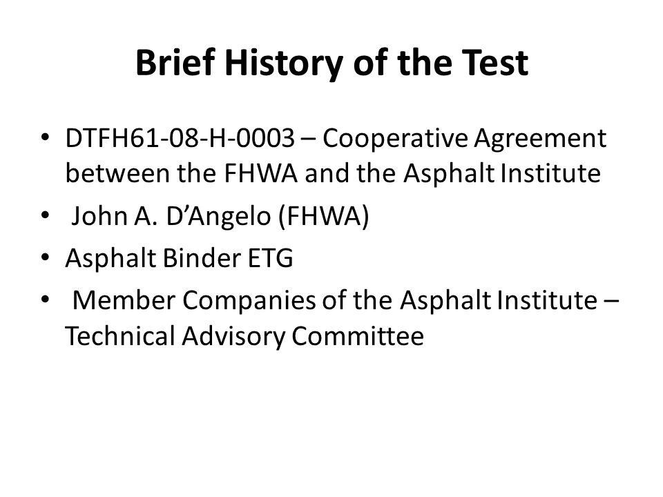 Brief History of the Test