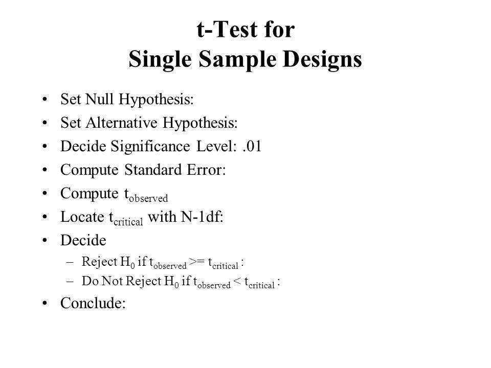 t-Test for Single Sample Designs