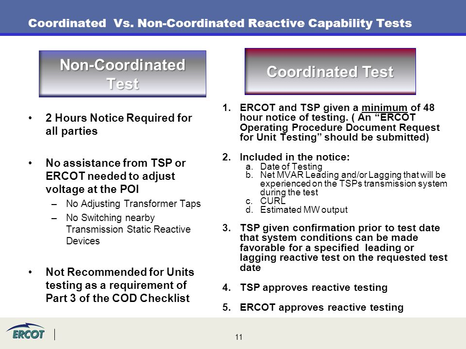 Coordinated Vs. Non-Coordinated Reactive Capability Tests