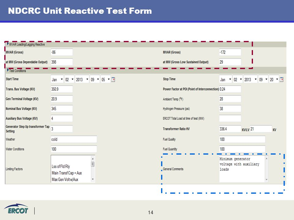 NDCRC Unit Reactive Test Form