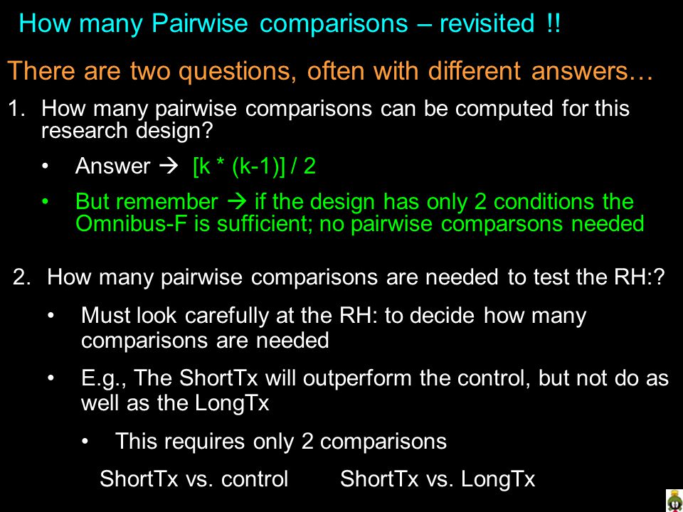 How many Pairwise comparisons – revisited !!