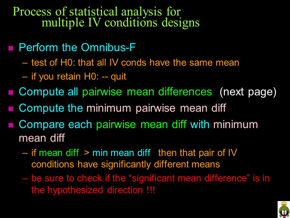 Process of statistical analysis for multiple IV conditions designs