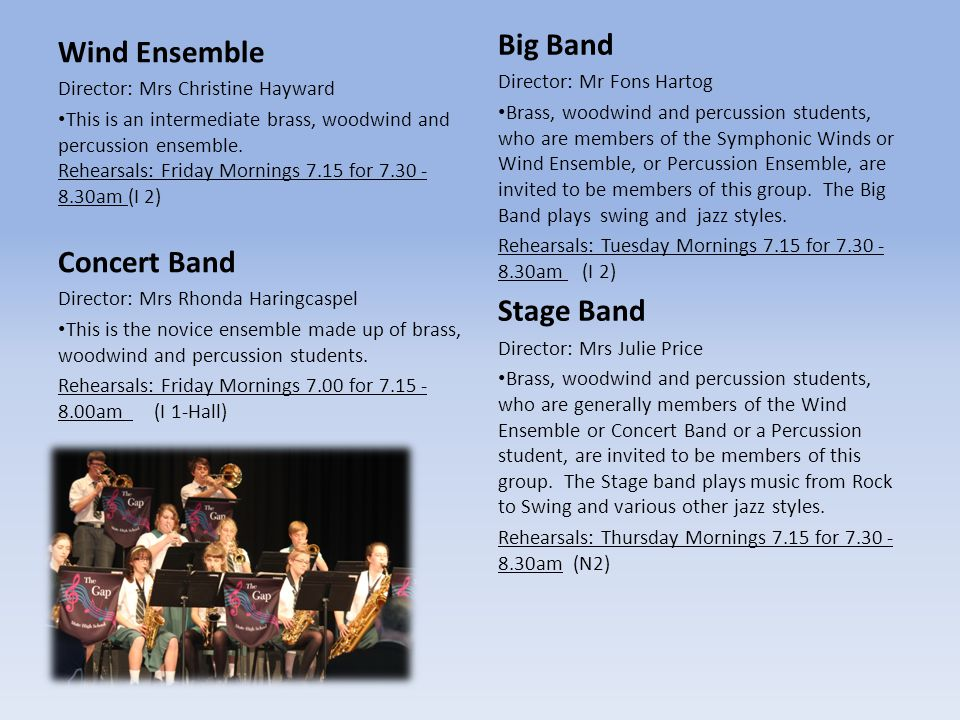Big Band Wind Ensemble Concert Band Stage Band
