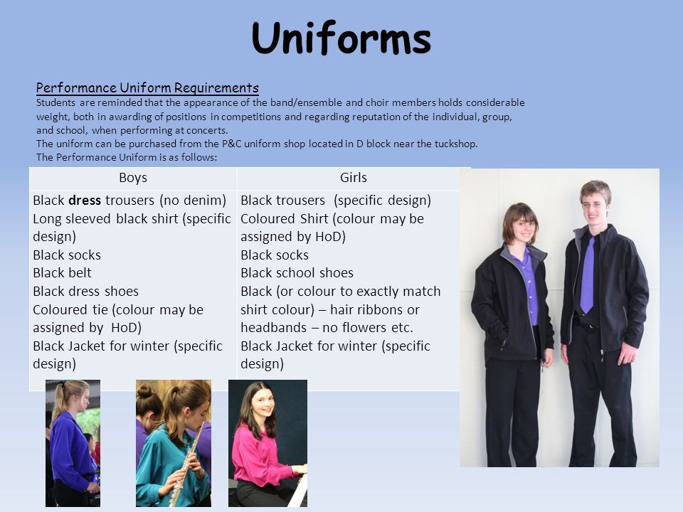 Uniforms Boys Girls Black dress trousers (no denim)