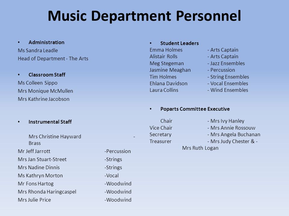 Music Department Personnel