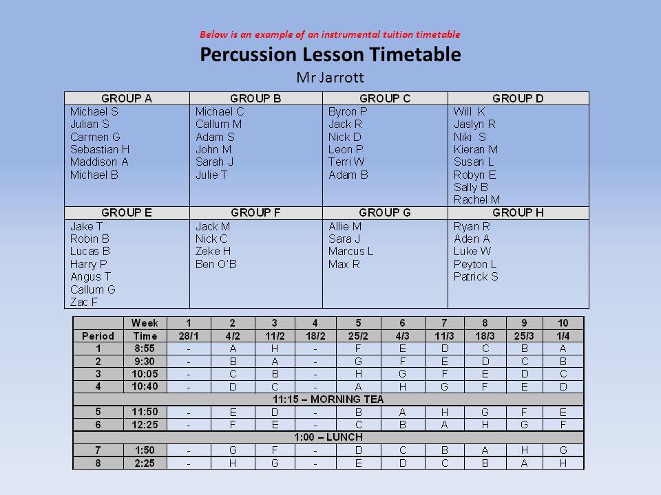 Percussion Lesson Timetable