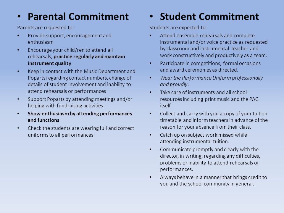 Parental Commitment Student Commitment Parents are requested to:
