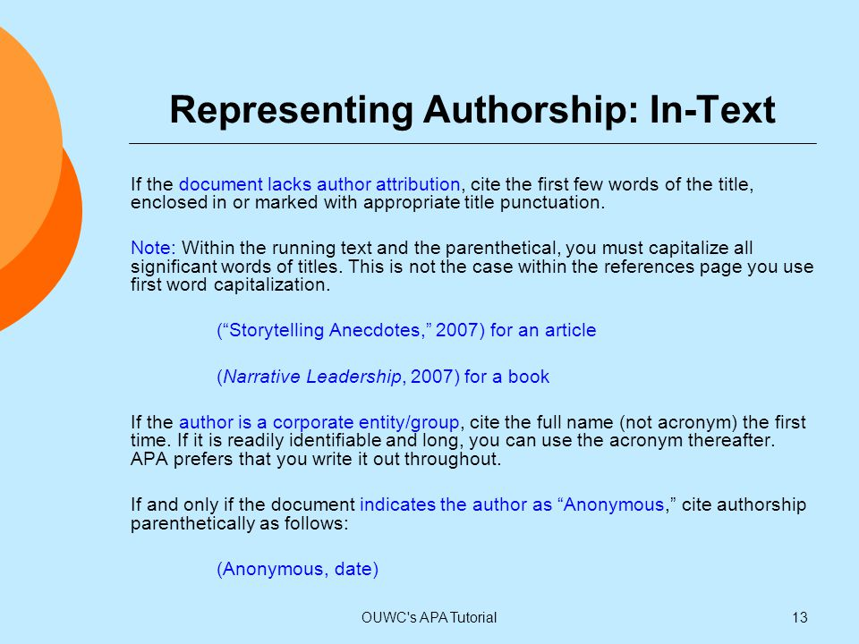 Representing Authorship: In-Text