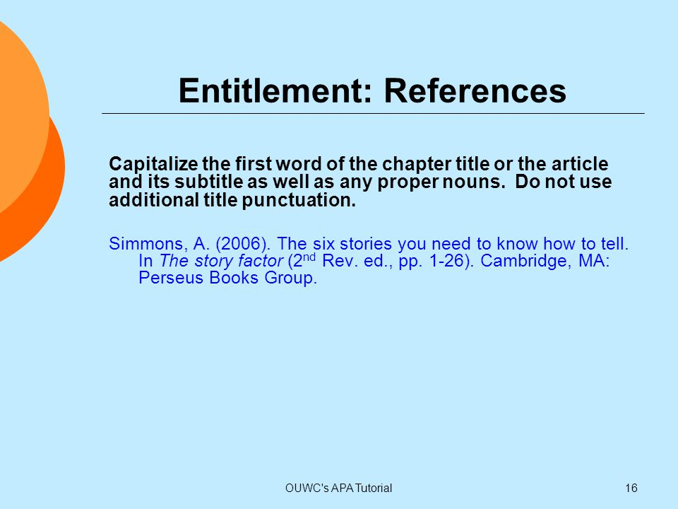 Entitlement: References