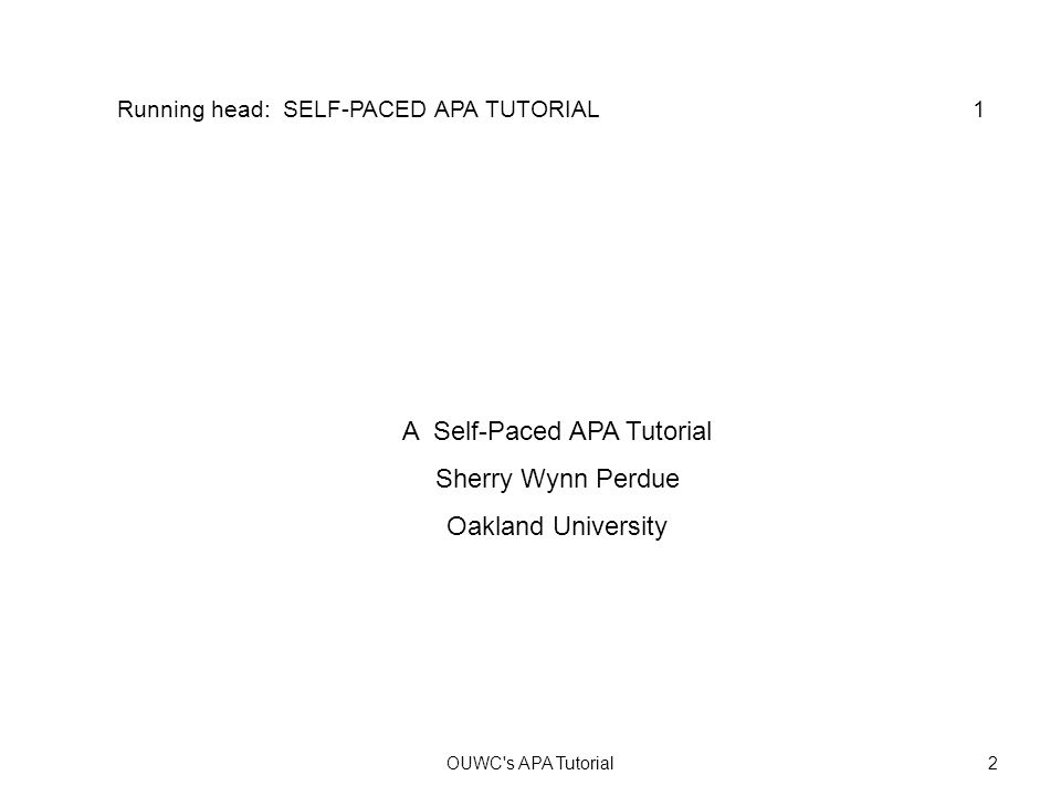 A Self-Paced APA Tutorial