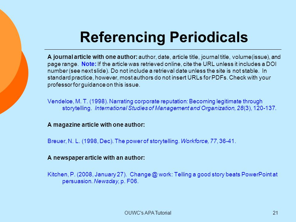 Referencing Periodicals