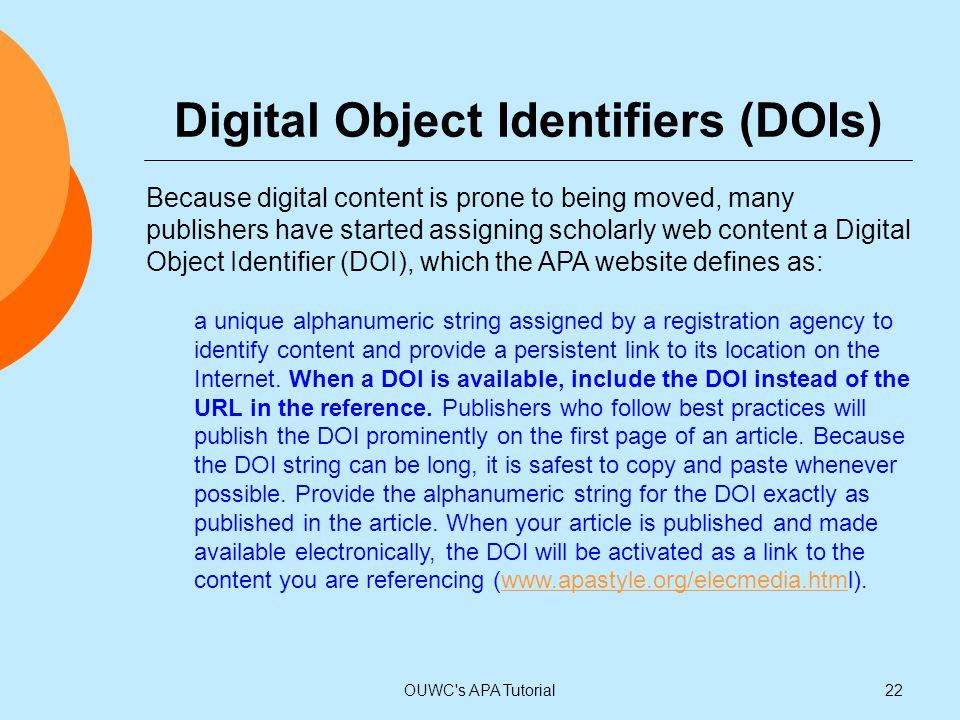 Digital Object Identifiers (DOIs)
