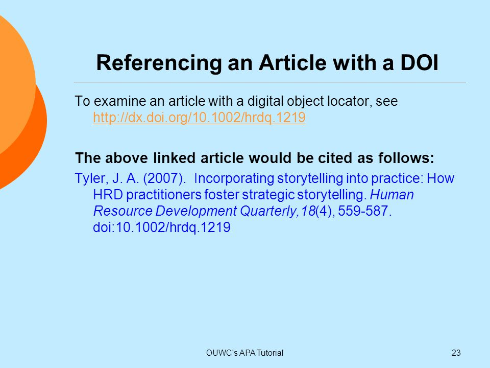Referencing an Article with a DOI