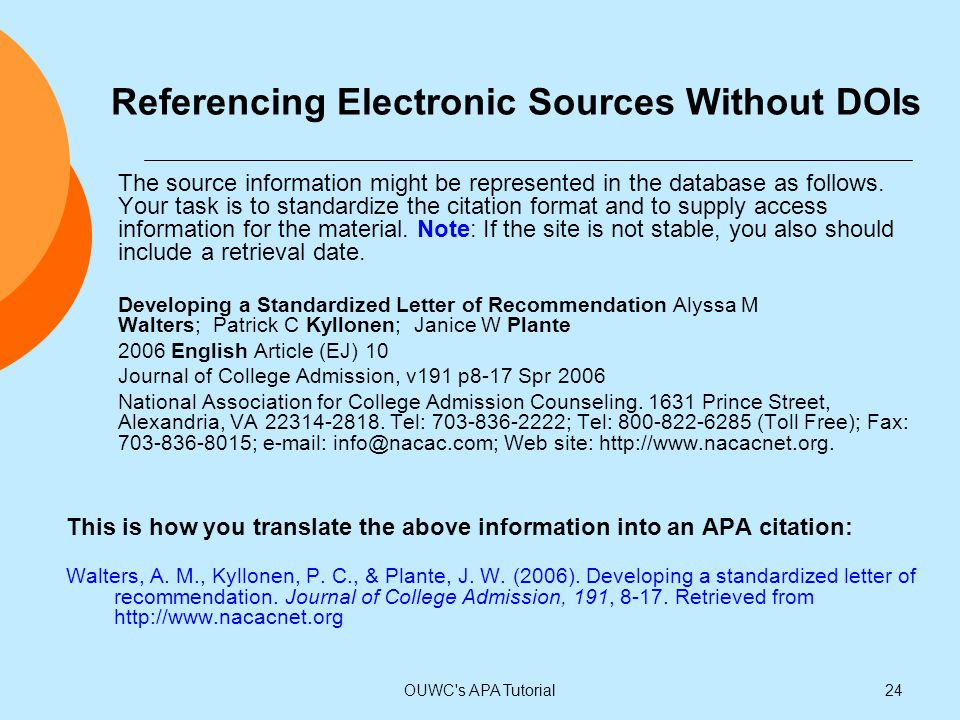 Referencing Electronic Sources Without DOIs