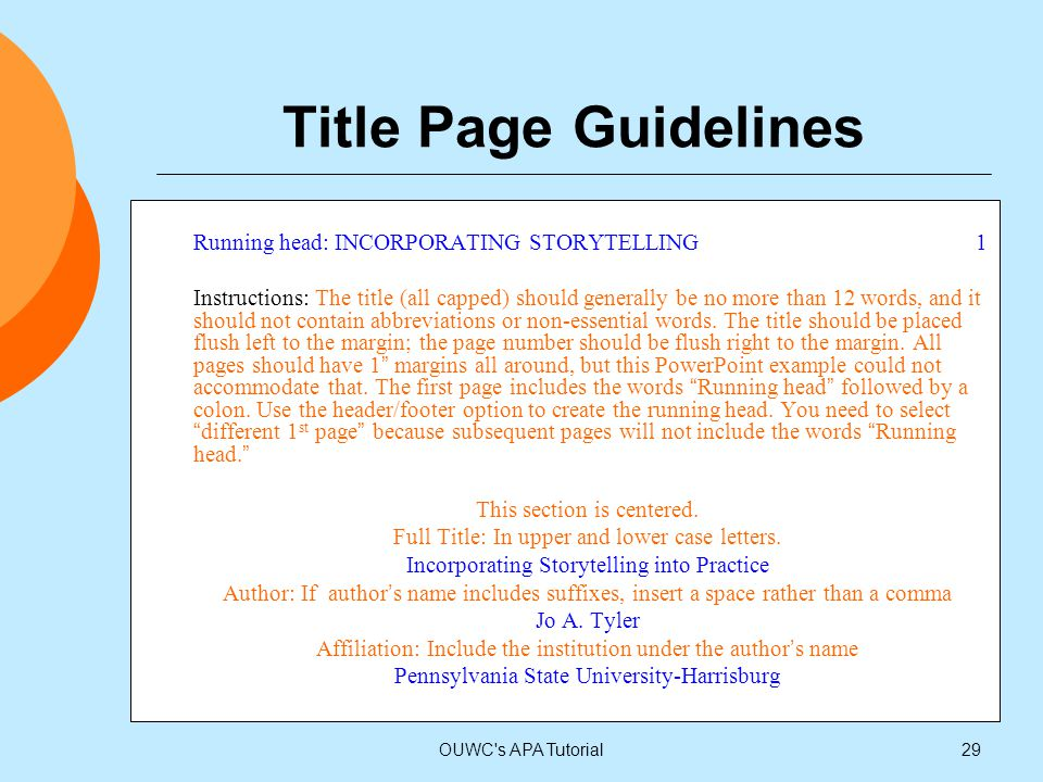 Title Page Guidelines Running head: INCORPORATING STORYTELLING 1