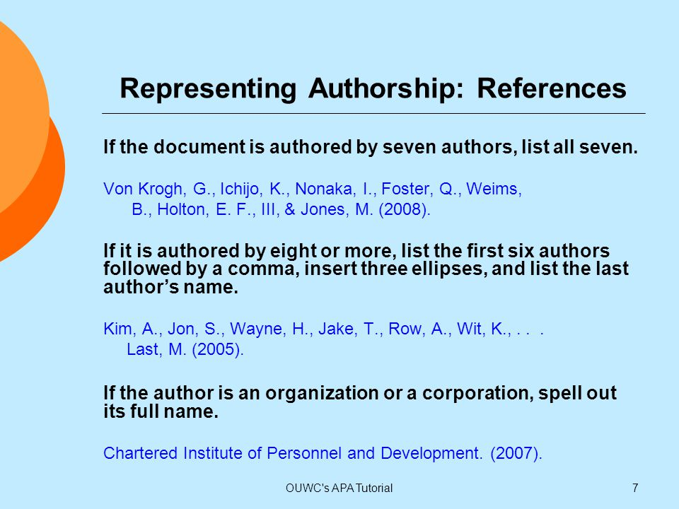Representing Authorship: References