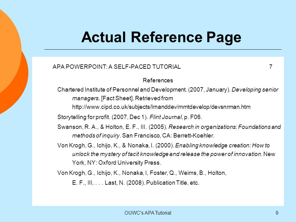 Actual Reference Page APA POWERPOINT: A SELF-PACED TUTORIAL 7