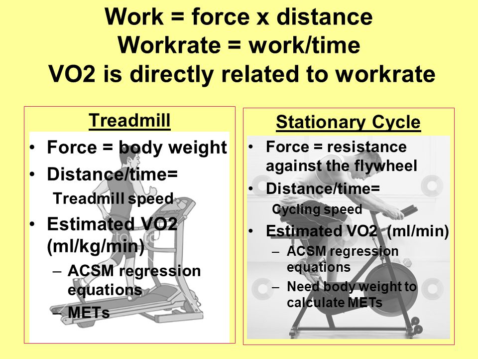 Work = force x distance Workrate = work/time VO2 is directly related to workrate