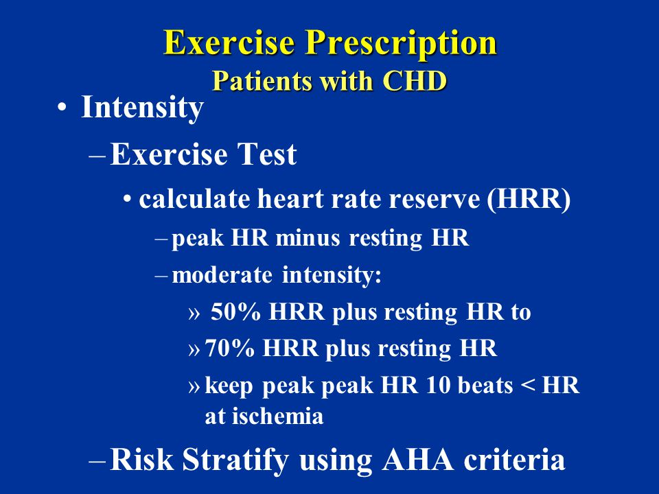 Exercise Prescription Patients with CHD
