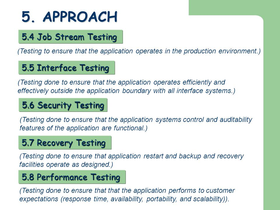 5. APPROACH 5.4 Job Stream Testing 5.5 Interface Testing