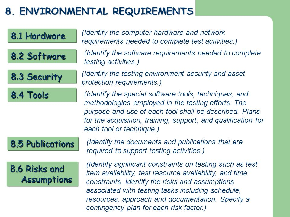 8. ENVIRONMENTAL REQUIREMENTS